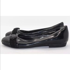 KEMAL TANCA Woven Black Patent Leather Toe Flats